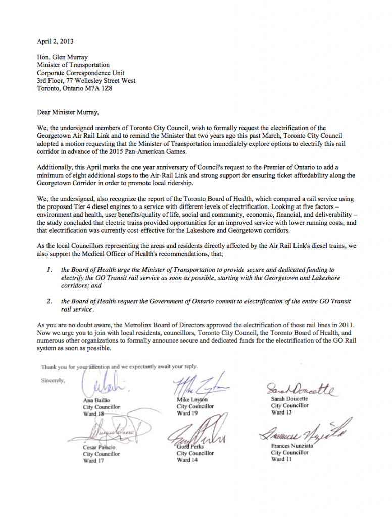 TO Councillors Letter to Glen Murray_Apr 2, 2013